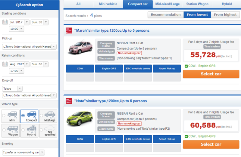 Car Rental In Japan Drop Off In Different Place